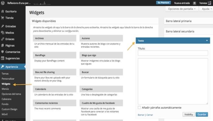 Pasos para instalar widgets en WordPress
