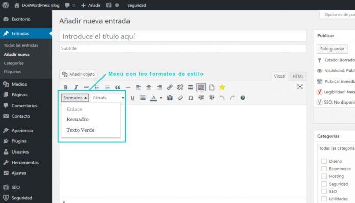 Cómo agregar nuevos formatos al editor de texto en las entradas