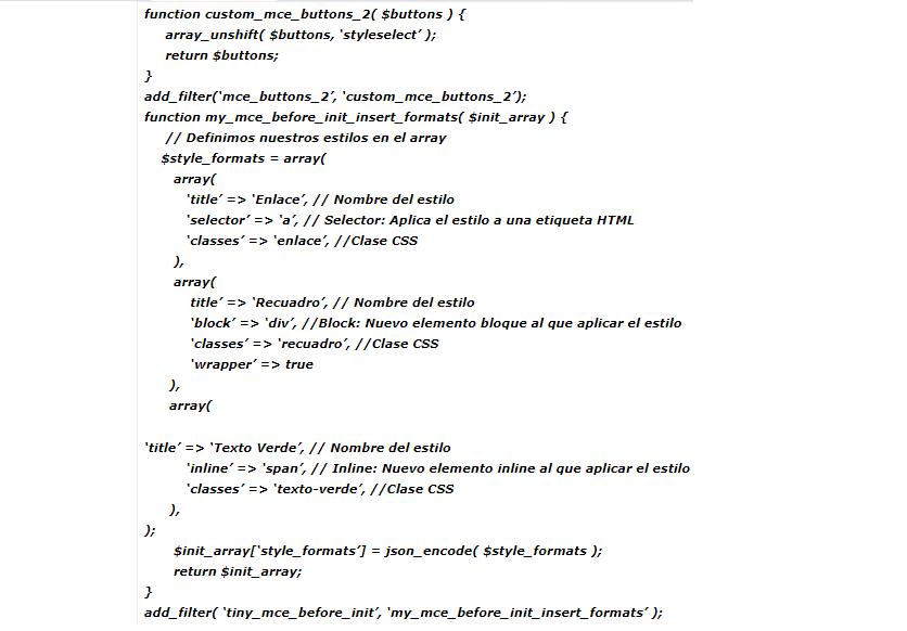 Pasos para agregar formatos al editor de texto sin plugins
