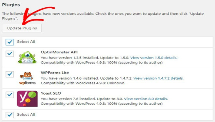 Pasos para buscar actualizaciones de seguridad WordPress