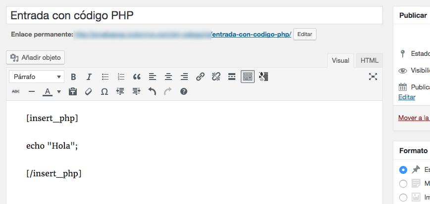 Cómo añadir códigos PHP en post de WordPress