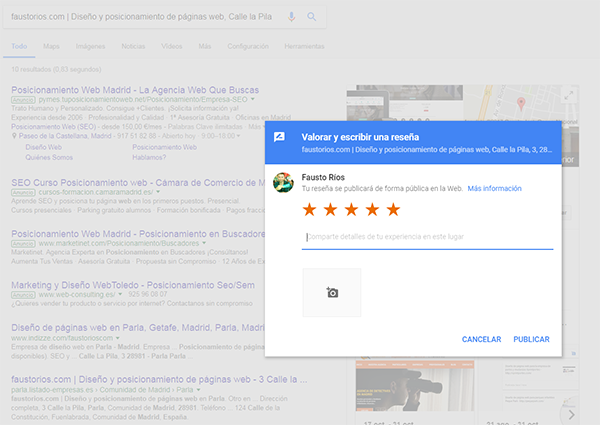 disponer de las opiniones de google para usarlas a tu favor